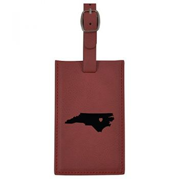 North Carolina-State Outline-Heart-Leatherette Luggage Tag -Burgundy