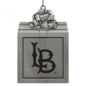 Long Beach State University -Pewter Christmas Holiday Present Ornament-Silver