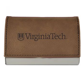 Velour Business Cardholder-Virginia Tech-Brown