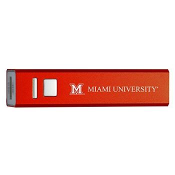 Miami University - Portable Cell Phone 2600 mAh Power Bank Charger - Red
