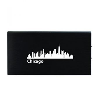 Chicago, Illinois-8000 mAh Portable Cell Phone Charger-Black
