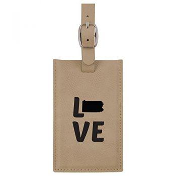 Pennsylvania-State Outline-Love-Leatherette Luggage Tag -Tan