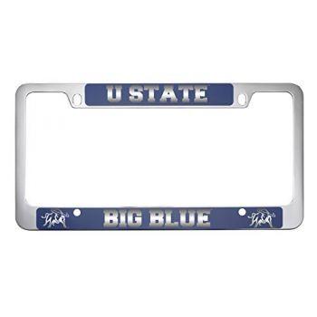 Utah State University -Metal License Plate Frame-Blue