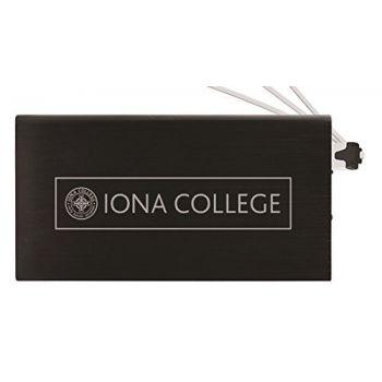8000 mAh Portable Cell Phone Charger-Iona College-Black