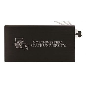 8000 mAh Portable Cell Phone Charger-Northwestern State University -Black