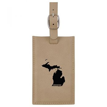 Michigan-State Outline-Leatherette Luggage Tag -Tan