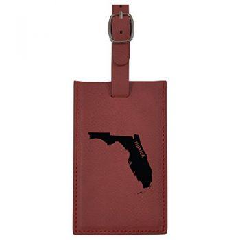 Florida-State Outline-Leatherette Luggage Tag -Burgundy