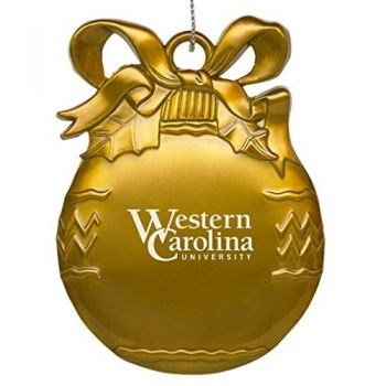 Western Carolina University - Pewter Christmas Tree Ornament - Gold