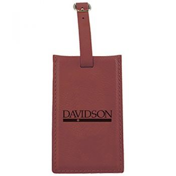 Davidson College-Leatherette Luggage Tag-Burgundy