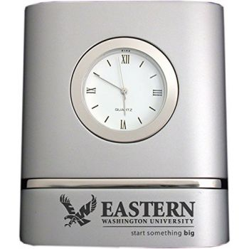 Eastern Washington University- Two-Toned Desk Clock -Silver