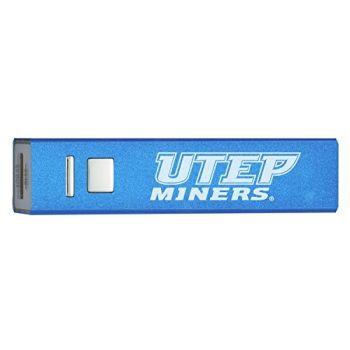 University of Texas at El Paso - Portable Cell Phone 2600 mAh Power Bank Charger - Blue