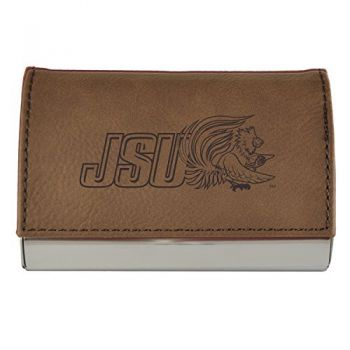 Velour Business Cardholder-Jacksonville State University-Brown