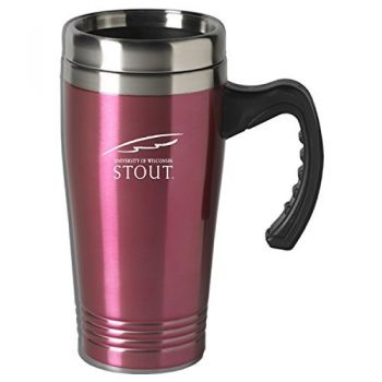 University of Wisconsin-Stout-16 oz. Stainless Steel Mug-Pink
