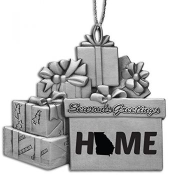 Georgia-State Outline-Home-Pewter Gift Package Ornament-Silver