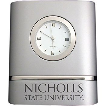 Nicholls State University- Two-Toned Desk Clock -Silver