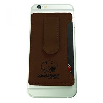 University of South Alabama -Leatherette Cell Phone Card Holder-Brown