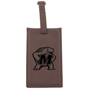 University of Maryland-Leatherette Luggage Tag-Brown