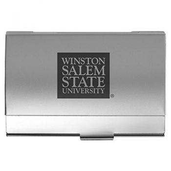 Winston-Salem State University - Two-Tone Business Card Holder - Silver