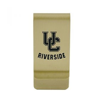 University of Connecticut|Money Clip with Contemporary Metals Finish|Solid Brass|High Tension Clip to Securely Hold Cash, Cards and ID's|Silver