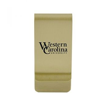 Wesleyan University|Money Clip with Contemporary Metals Finish|Solid Brass|High Tension Clip to Securely Hold Cash, Cards and ID's|Silver