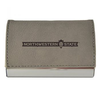 Velour Business Cardholder-Northwestern State University-Grey