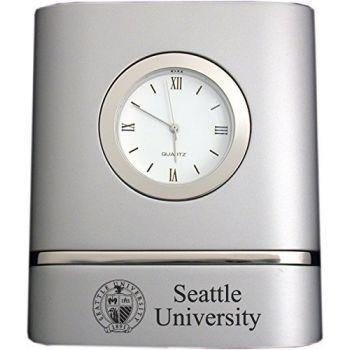 Seattle University- Two-Toned Desk Clock -Silver