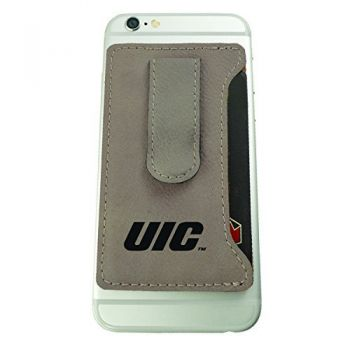University of Illinois at Chicago-Leatherette Cell Phone Card Holder-Tan