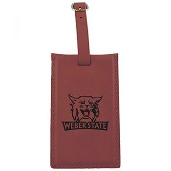Weber State University -Leatherette Luggage Tag-Burgundy
