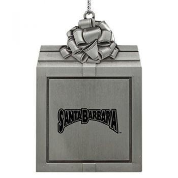 University of California, Santa Barbara-Pewter Christmas Holiday Present Ornament-Silver