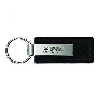 Fairleigh Dickinson University-Carbon Fiber Leather and Metal Key Tag-Black