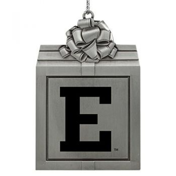 Eastern Michigan University-Pewter Christmas Holiday Present Ornament-Silver