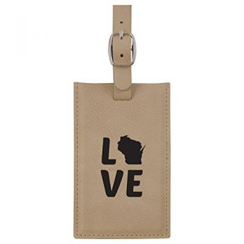 Wisconsin-State Outline-Love-Leatherette Luggage Tag -Tan