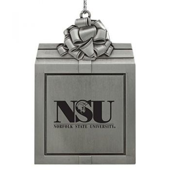 Norfolk State University -Pewter Christmas Holiday Present Ornament-Silver