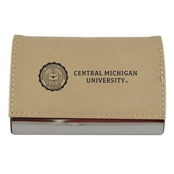 Velour Business Cardholder-Central Michigan University-Tan
