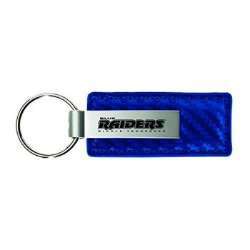 Middle Tennessee State University-Carbon Fiber Leather and Metal Key Tag-Blue