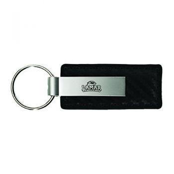 Lamar University-Carbon Fiber Leather and Metal Key Tag-Black