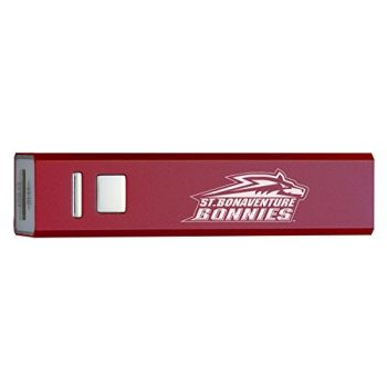 St. Bonaventure University - Portable Cell Phone 2600 mAh Power Bank Charger - Burgundy