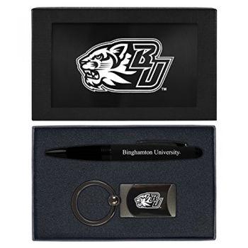 Binghamton University-Executive Twist Action Ballpoint Pen Stylus and Gunmetal Key Tag Gift Set-Black