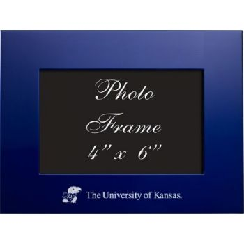 University of Kansas - 4x6 Brushed Metal Picture Frame - Blue