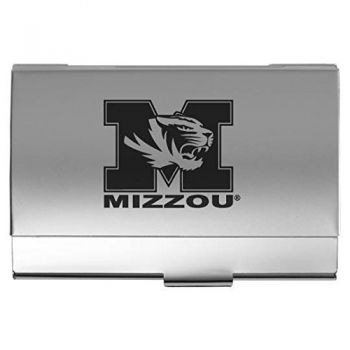 University of Missouri - Two-Tone Business Card Holder - Silver