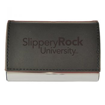 Velour Business Cardholder-Slippery Rock University-Black