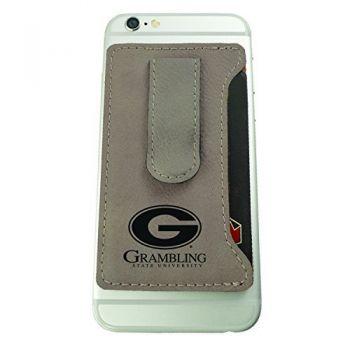 Grambling State University-Leatherette Cell Phone Card Holder-Tan