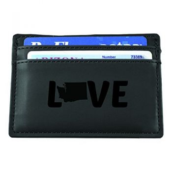 Washington-State Outline-Love-European Money Clip Wallet-Black