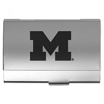 University of Michigan - Two-Tone Business Card Holder - Silver