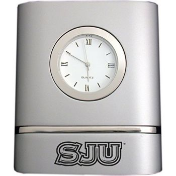 Saint Joseph's University- Two-Toned Desk Clock -Silver