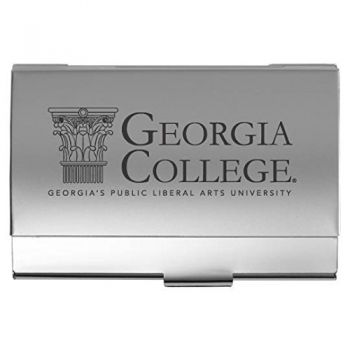 Georgia College & State University - Two-Tone Business Card Holder - Silver