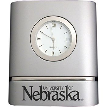 University of Nebraska??Lincoln- Two-Toned Desk Clock -Silver