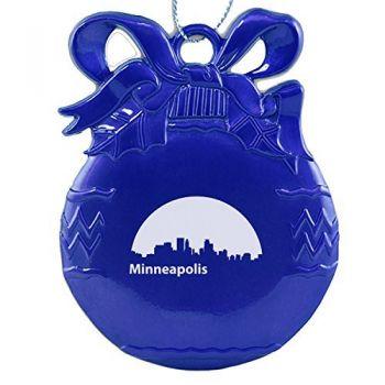 Pewter Christmas Bulb Ornament - Minneapolis City Skyline