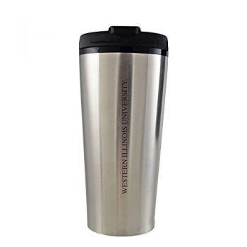 Western Illinois University -16 oz. Travel Mug Tumbler-Silver