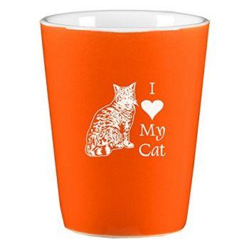 2 oz Ceramic Shot Glass  - I Love My Cat